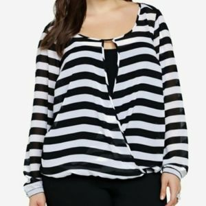 Torrid Black Striped Chiffon Surplice Wrap Top